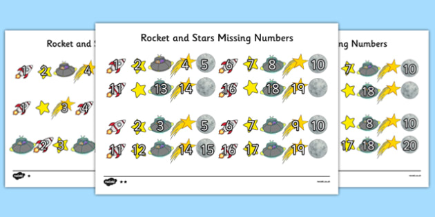 Rockets and Stars Missing Number Differentiated Activity Sheet Pack - rockets, stars, missing number, differentiated, activity, sheets, worksheet