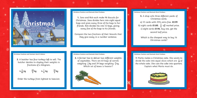 UKS2 Fractions and Decimals Word Problems Christmas Maths Challenge Cards