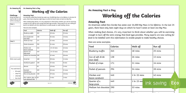 Working off the Calories Activity Sheet - Amazing Fact Of The Day, activity sheets, powerpoint, starter, morning activity, December, healthy e