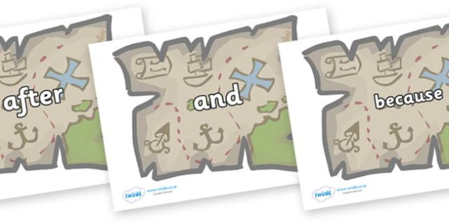 Connectives on Treasure Maps - Connectives, VCOP, connective resources, connectives display words, connective displays