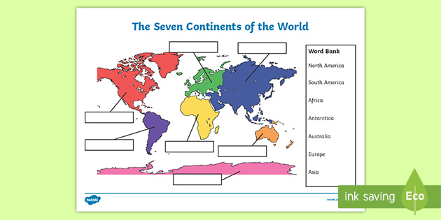 The Seven Continents Labelling Activity Worksheet - 43+ Simple Map Worksheets For Kindergarten Pics