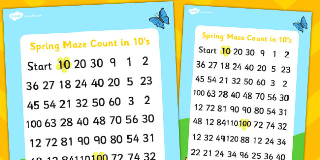Spring Themed Counting in 10s Maze - spring, counting, math, maze