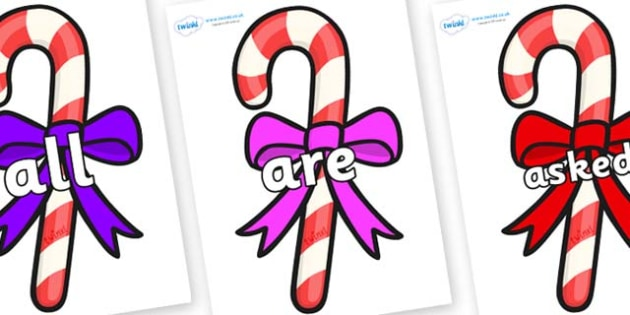 Tricky Words on Candy Canes (Bows) - Tricky words, DfES Letters and Sounds, Letters and sounds, display, words