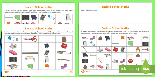 Back to School Themed Differentiated Maths Worksheet ...