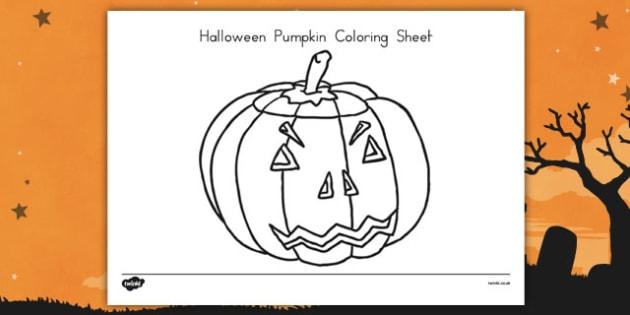 Halloween Pumpkin Coloring Sheet - fun and games, activity, american, US