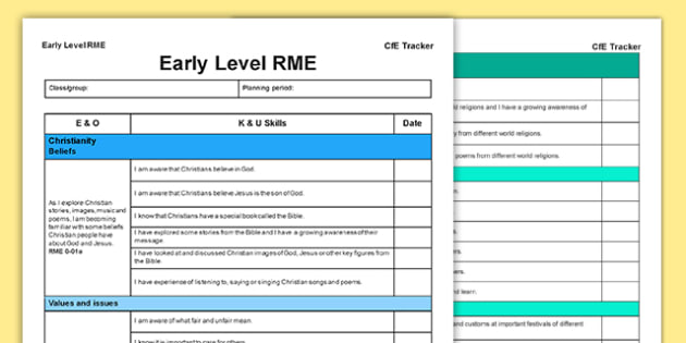 RME CfE Early Level Tracker - CfE, planning, Christianity, world religions, beliefs, I can, Early Level