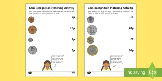 Coin Recognition Matching Worksheets - EYFS, Early Years ...