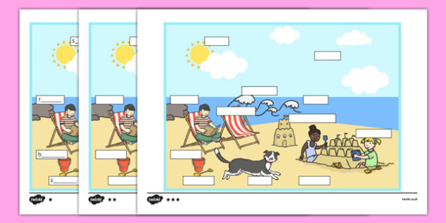 At The Seaside Differentiated Labelling Activity - matching, language development, keywords, expressive skills, first words