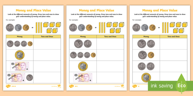 money and place value differentiated worksheet activity sheet. Black Bedroom Furniture Sets. Home Design Ideas