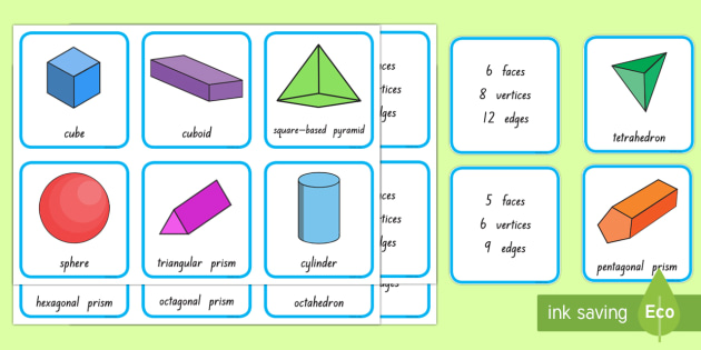 3D Shape and Properties Matching Cards - 3D shapes, geometry