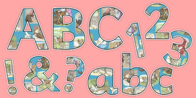 Beatrix Potter - The Tale of Tom Kitten Themed A4 Display Lettering - beatrix potter, tom kitten