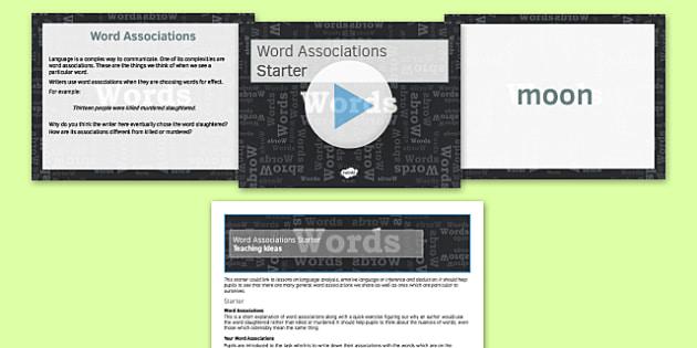 Word Associations Starter Activity - word, associations, starter, activities