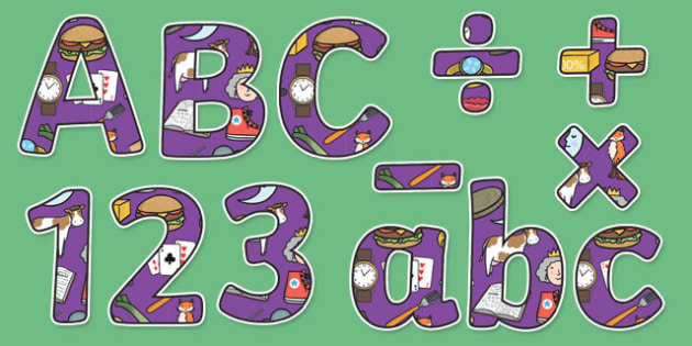 Phase 3 Themed Display Lettering Letters and Numbers Pack - English lettering, English display, English display lettering, phase 3