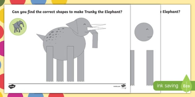 Elephant Shape Activity Sheet Pack to Support Teaching on The Enormous Crocodile - Trunky the Elephant, The Enormous Crocodile, Roald Dahl, worksheet