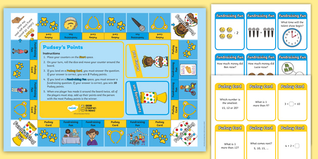 KS1 BBC Children in Need Pudsey's Fundraising Maths Board Game Pack