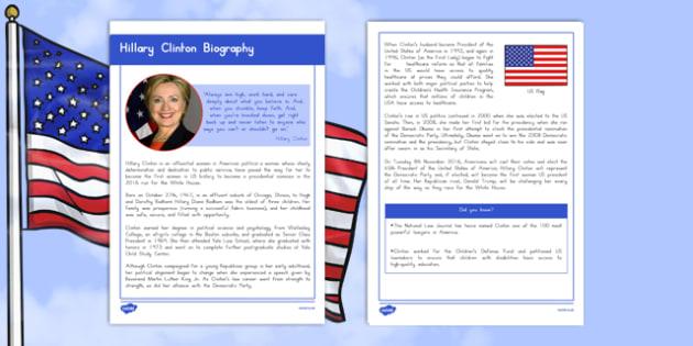 Hillary Clinton Biography Fact File
