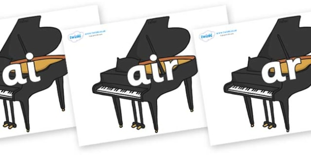 Phase 3 Phonemes on Baby Grand Pianos - Phonemes, phoneme, Phase 3, Phase three, Foundation, Literacy, Letters and Sounds, DfES, display