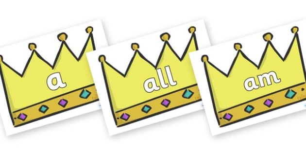 Foundation Stage 2 Keywords on Crowns (Plain) - FS2, CLL, keywords, Communication language and literacy,  Display, Key words, high frequency words, foundation stage literacy, DfES Letters and Sounds, Letters and Sounds, spelling