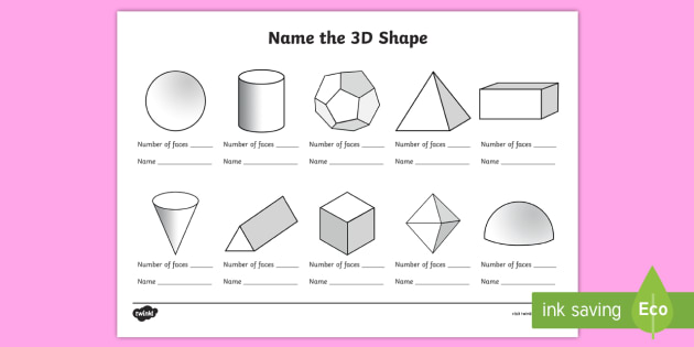 Name The 3d Shape Year 6 Worksheet Worksheet 3d Shape Year