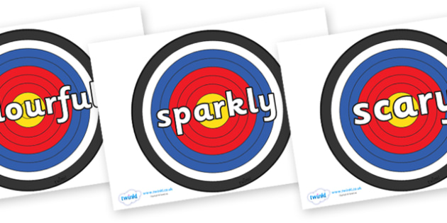 Wow Words on Archery Targets - Wow words, adjectives, VCOP, describing, Wow, display, poster, wow display, tasty, scary, ugly, beautiful, colourful sharp, bouncy