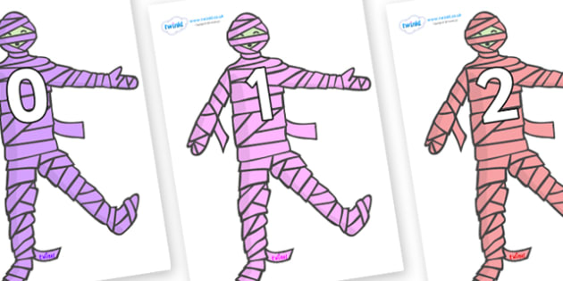Numbers 0-31 on Mummies (Multicolour) - 0-31, foundation stage numeracy, Number recognition, Number flashcards, counting, number frieze, Display numbers, number posters