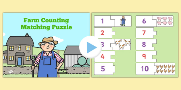 Farm Themed Counting Puzzle Activity Presentation - activities