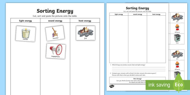 Sorting Energy Types Worksheet