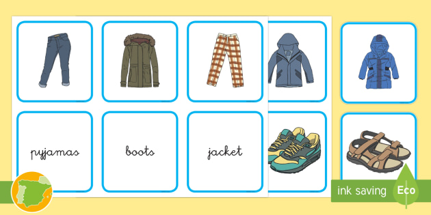 A1 Tarjetas De Emparejar La Ropa En Inglés Clothes