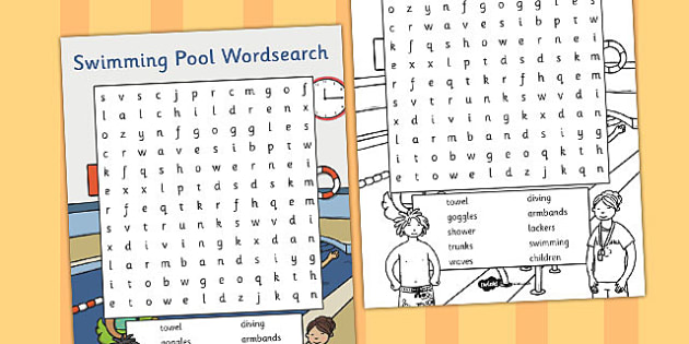 Swimming Pool Wordsearch - swimming pool, wordsearch, words, eal
