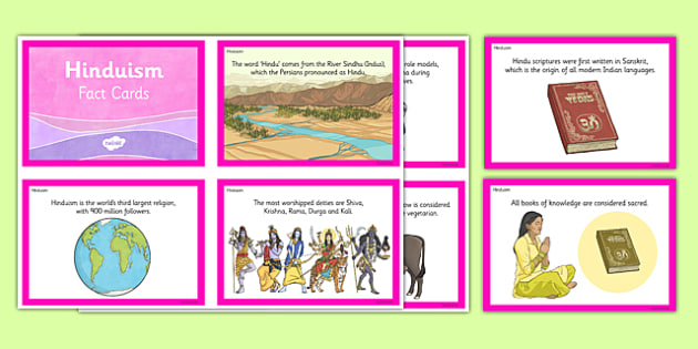 Hinduism Fact Cards - hindu, hinduism, fact cards, religion, facts, ks2, key stage 2