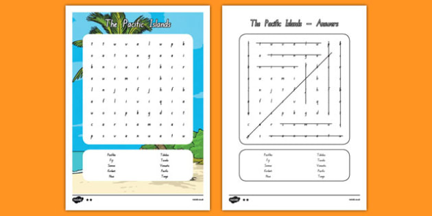 The Pacific Islands Word search