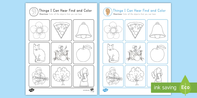 * NEW * Things I Can Hear: Find And Color Worksheet