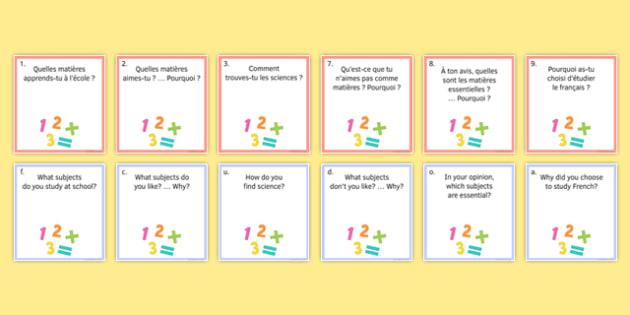 My Studies Question Pair Cards French - Conversation, Speaking, Education, School, Subjects, Éducation, École, Matière, Cards, Cartes
