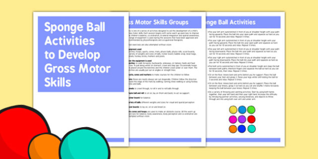 Sponge Ball Gross Motor Skills Activities - gross motor, activity