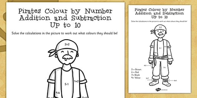 Pirates Colour By Number Addition And Subtraction Up To 10 10