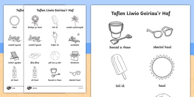 Taflen Liwio Geiriau'r Haf Cymraeg - welsh, cymraeg, seasons, colour