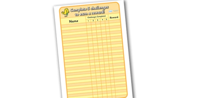 Challenge Record Sheet - challenge, record sheet, record, sheets, goals, challenges, completed, reward, award