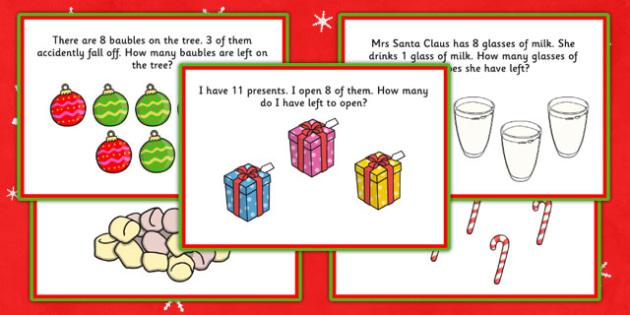 Christmas Themed KS1 Subtraction Word Problem Challenge Cards - christmas, subtraction, word problem, challenge