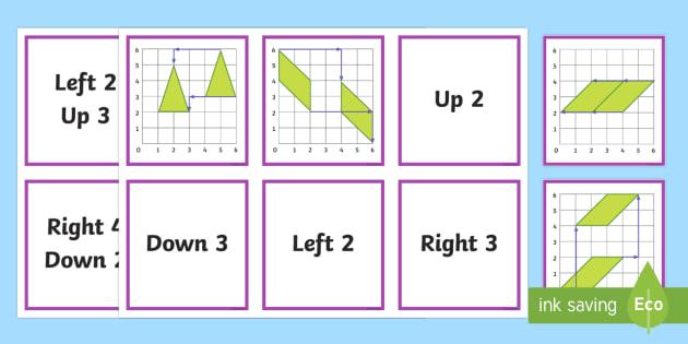 2D Shape Translations Matching Cards - Position, direction, coordinates, translations.