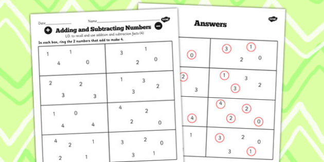 Number Facts to 20 Find Pairs to 4 Worksheet - number, facts, 4