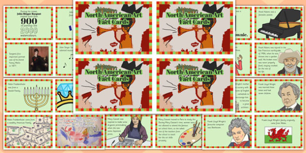 North American Art Fact Cards - north american art, fact cards, fact, cards, north america