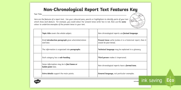 Features of a report ks2