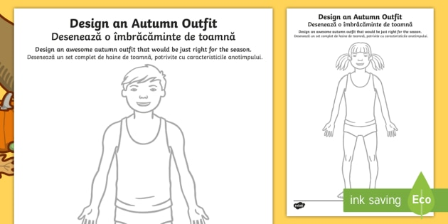 Autumn Clothes Outfit Drawing Worksheet / Activity Sheets English/Romanian - Autumn, seasons, september, october, november, topics, ks1, harvest, EAL