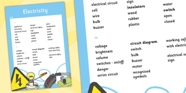 KS2 Electricity Scientific Vocabulary Progression Poster words