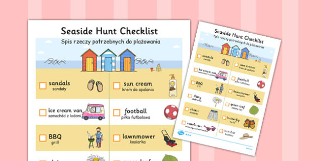 Translation Seaside Hunt Checklist Polish - polish, seaside, hunt
