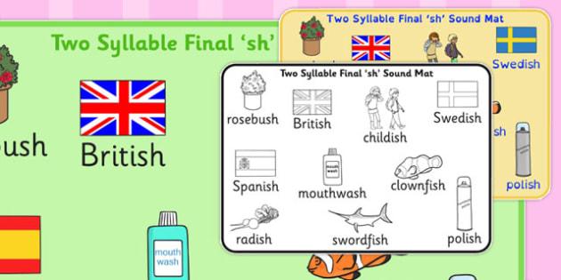 Two Syllable Final 'Sh' Sound Mat 2 - final sh, sound, mat, sound mat