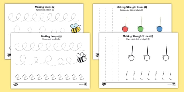 Pencil Control Worksheets Polish/English
