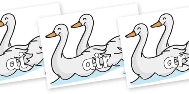 Phase 3 Phonemes on Swans - Phonemes, phoneme, Phase 3, Phase three, Foundation, Literacy, Letters and Sounds, DfES, display