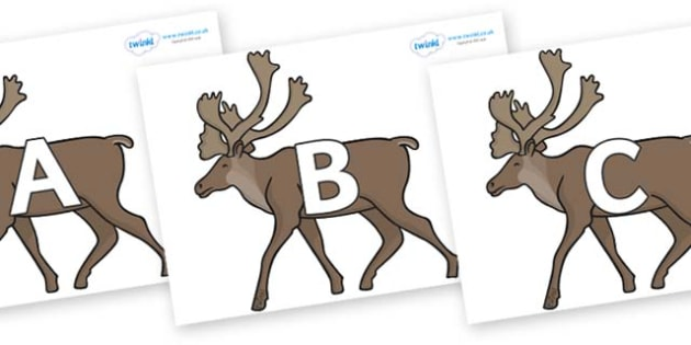 A-Z Alphabet on Caribous - A-Z, A4, display, Alphabet frieze, Display letters, Letter posters, A-Z letters, Alphabet flashcards