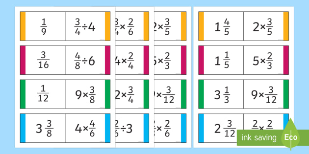 Year 6 Multiplication and Division with Fractions and Whole Numbers Loop Cards - Year 5 and 6, Y5 and 6, maths, fractions, multiplying fractions, dividing fractions, loop cards, fol